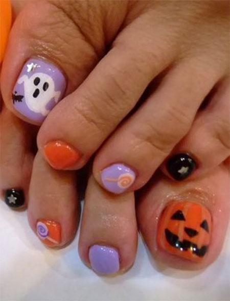 25 best halloween toe nail art designs pumpkin face halloween toe nail designs prinsesfo Choice Image