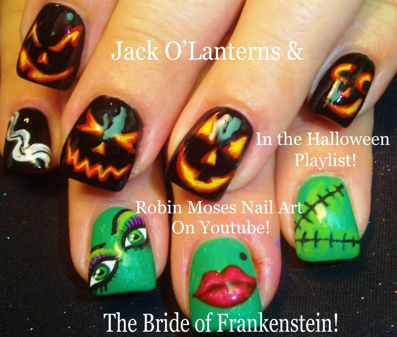 50 cool halloween nail art design ideas pumpkins and frankenstein halloween nail art design prinsesfo Gallery