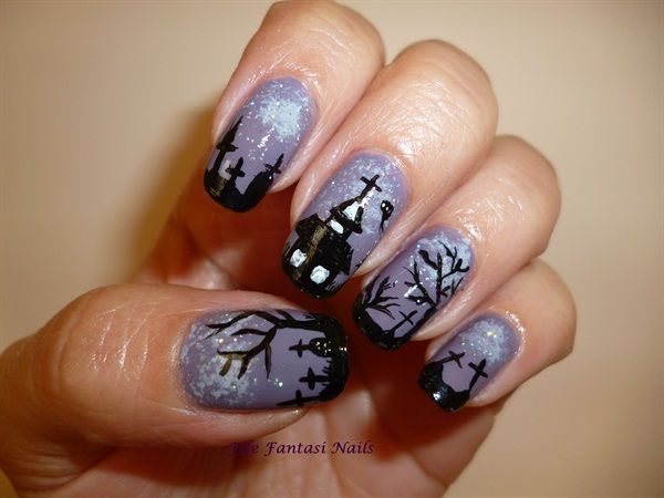 55 latest halloween nail art designs purple gel nails with graveyard halloween nail art prinsesfo Image collections