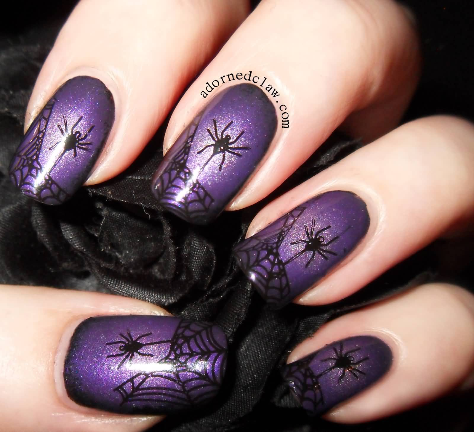 50 most beautiful spider web halloween nail art designs purple glitter gel nails with spider and web halloween nail art prinsesfo Images