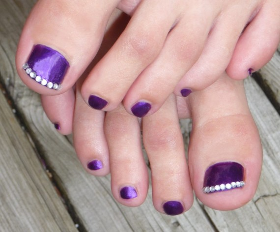 Purple Toe Nails With Rhinestones Design Wedding Nail Art