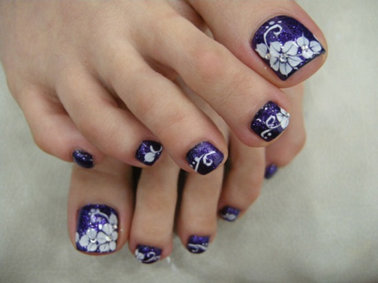Purple Toe Nails With White Flowers Wedding Nail Art