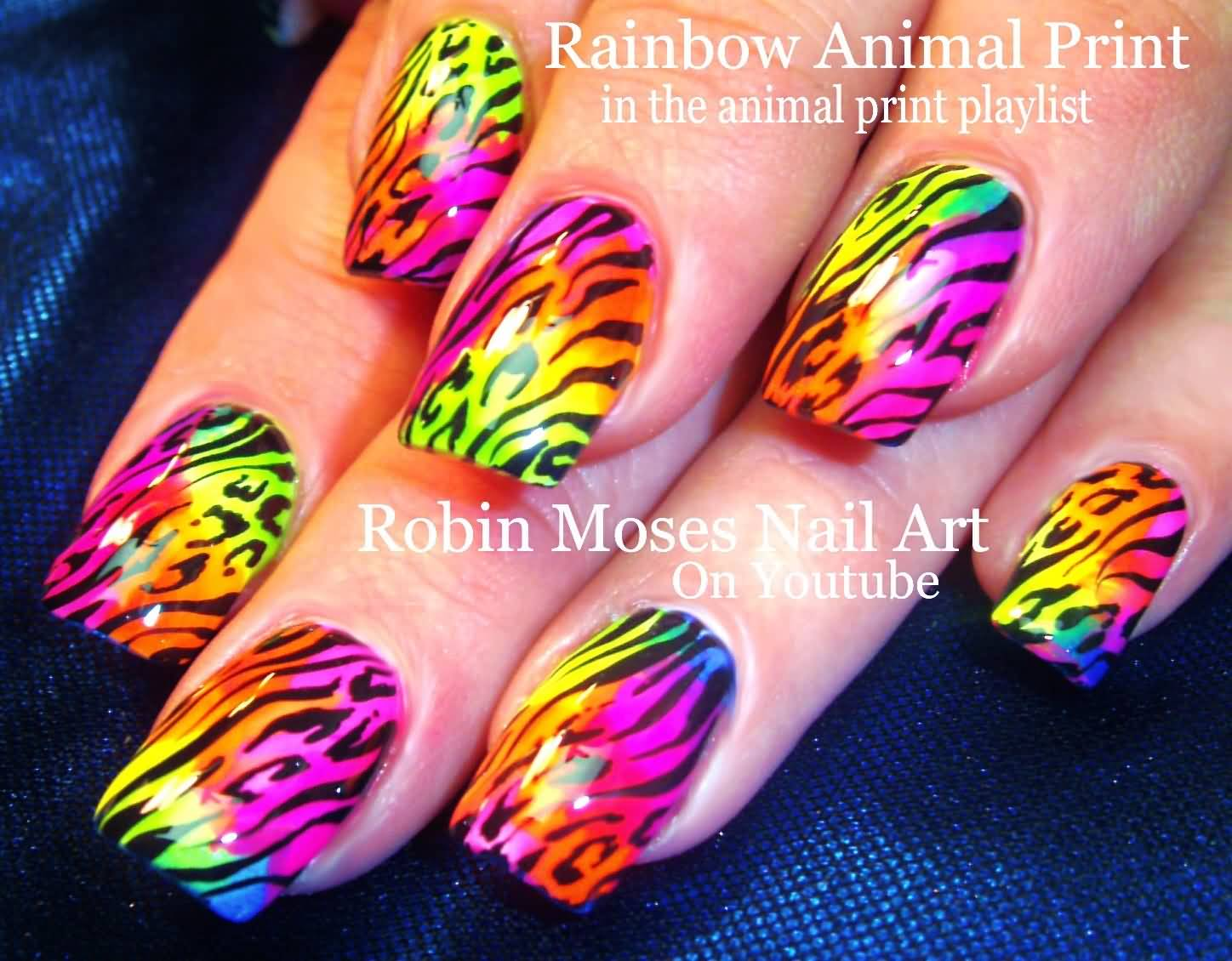 Rainbow Neon Animal Print Nail Art