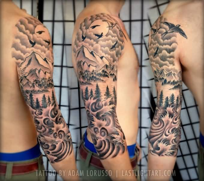 67 mountain tattoos on sleeve for Realistic sun tattoo