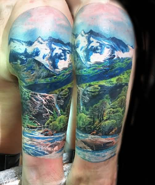 67 mountain tattoos on sleeve for Realistic tree tattoos