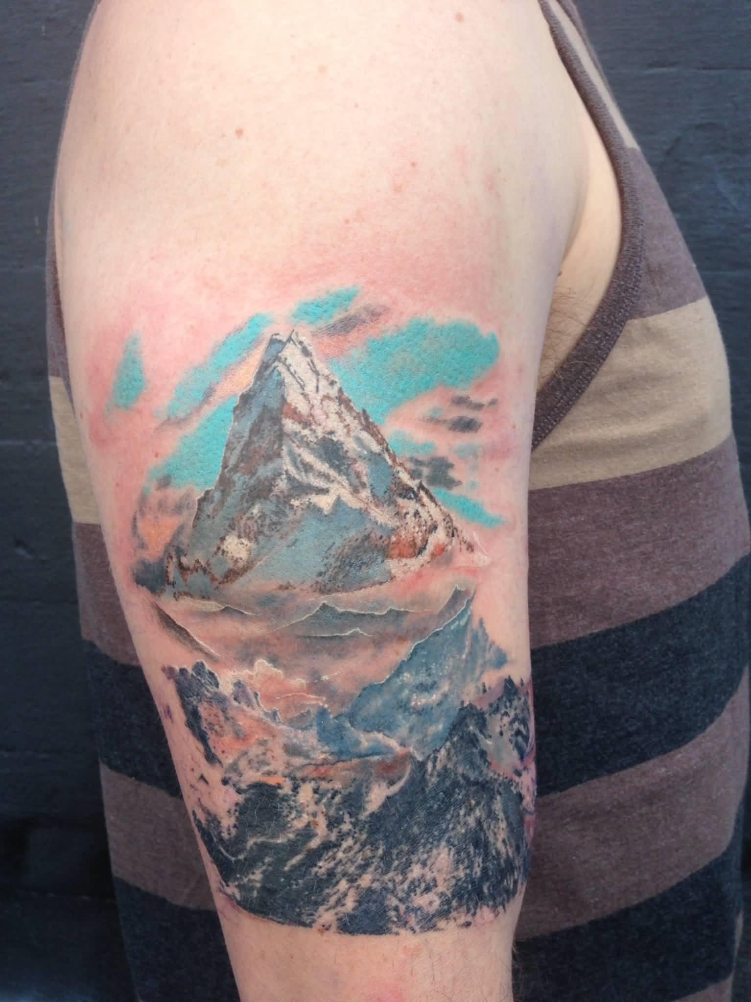 Mountain tattoos for Realistic tree tattoos