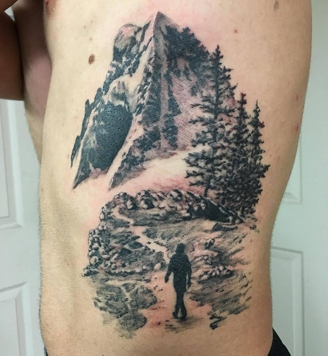 11 mountain tattoos on side rib for Realistic tree tattoos