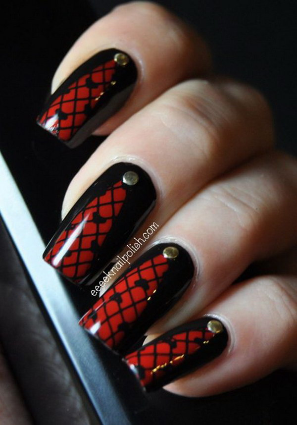Nail art black red nail nerd art for nerds studded red net nail art black red very beautiful red and black nail art design ideas prinsesfo Images