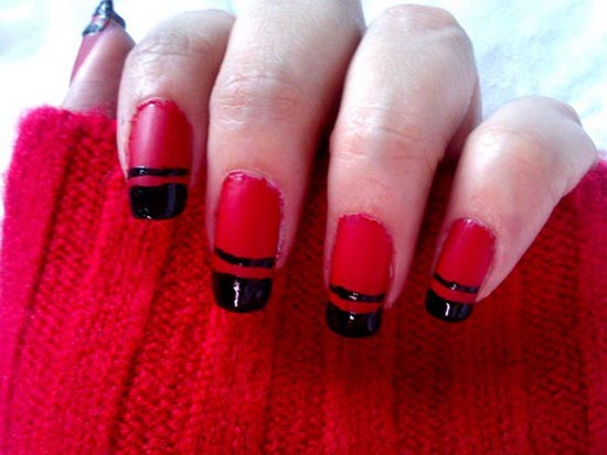 50 very beautiful red and black nail art design ideas red glossy nails with black tip design nail art prinsesfo Gallery