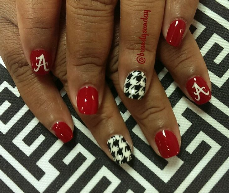 Red Nails With Accent Houndstooth Nail Art - 55+ Cool Houndstooth Nail Art Designs