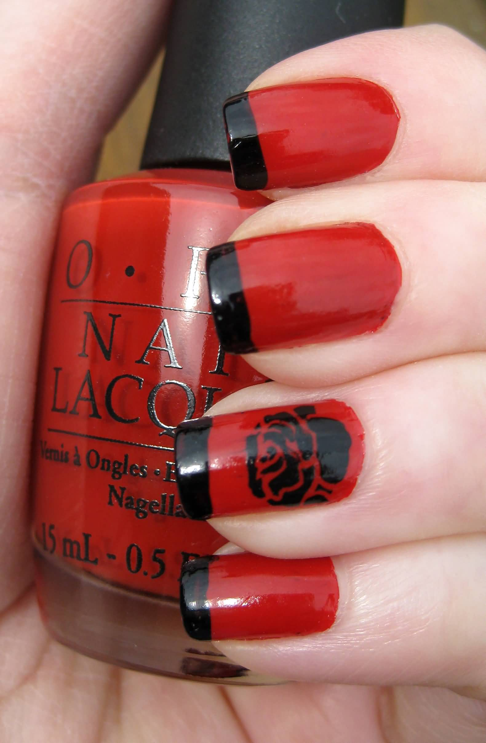 French Manicure With Red And Black Design Papillon Day Spa