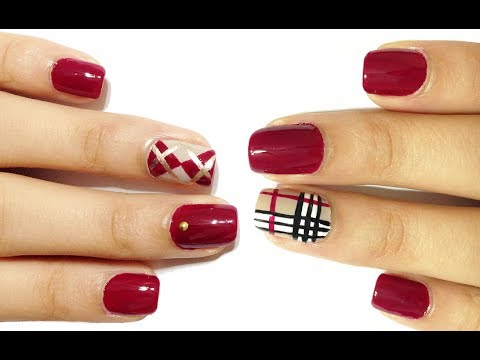 Red Nails With Burberry Nail Art Design Idea For S
