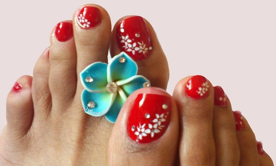 Red Toe Nails With White Flowers Wedding Nail Design