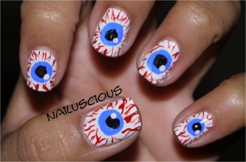 55 latest halloween nail art designs scary eyes halloween nail design prinsesfo Images