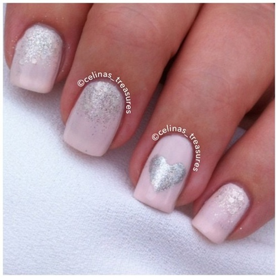 Silver glitter and heart design wedding nail art prinsesfo Image collections