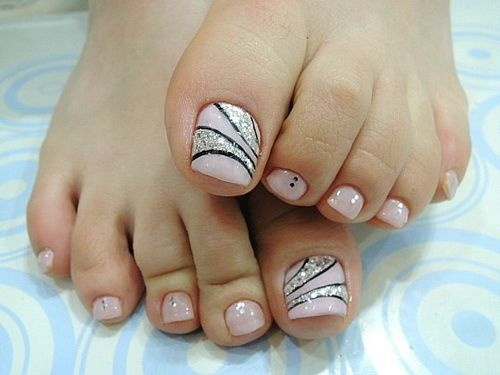Silver Glitter And Pink Wedding Toe Nail Art