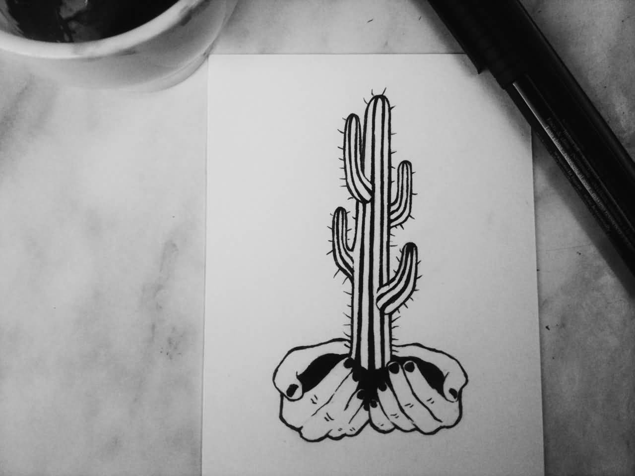 c7a19977b Simple Black And White Cactus On Hands Tattoo Design