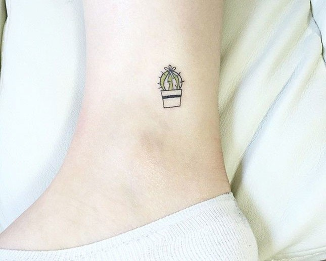 7bbd68b93 Simple Cactus Small Tattoo On Ankle Simple Cactus Small Tattoo On Ankle. Simple  Friendship Cactus Tattoos On Ankles And Wrist By Night Mood Ink
