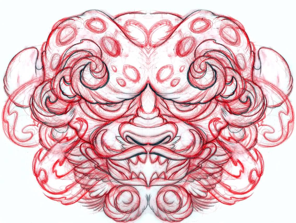 Simple Foo Dog Face Tattoo Design
