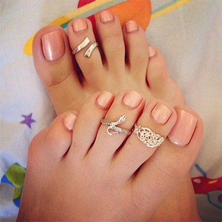 Simple Peach Wedding Toe Nail Art