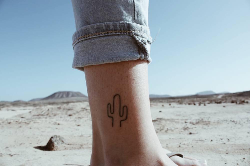404ada9ba Simple Saguaro Cactus Ankle Tattoo