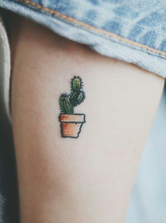66e89accf Small Cactus In Pot Tattoo