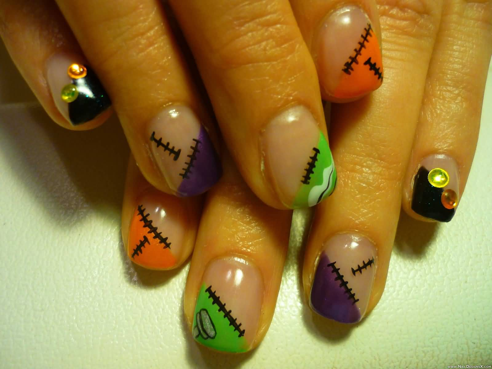 55 latest halloween nail art designs stitches design halloween nail art prinsesfo Gallery
