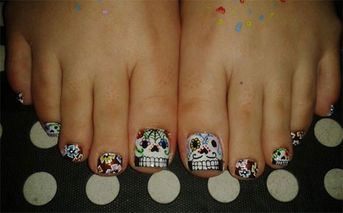 Sugary Skull Halloween Toe Nail Art - 25+ Best Halloween Toe Nail Art Designs