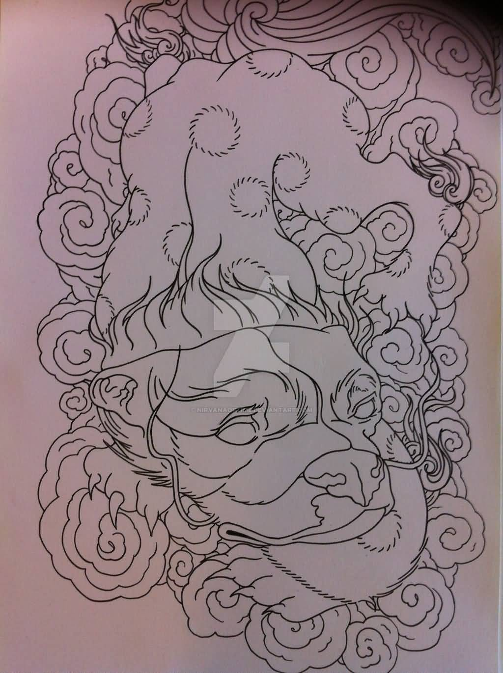 Superb Foo Dog Tattoo Design