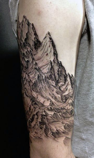 9e951546c Superb Mountain Range High Sleeve Tattoo
