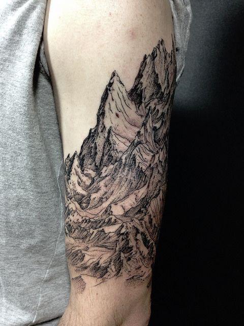 2d51cb61d Superb Mountain Range High Sleeve Tattoo. Superb Mountains Tattoo On Half  Sleeve