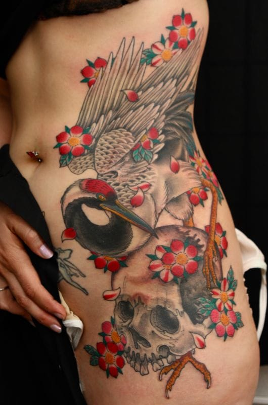 61+ Incredible Crane Tattoos - photo#37
