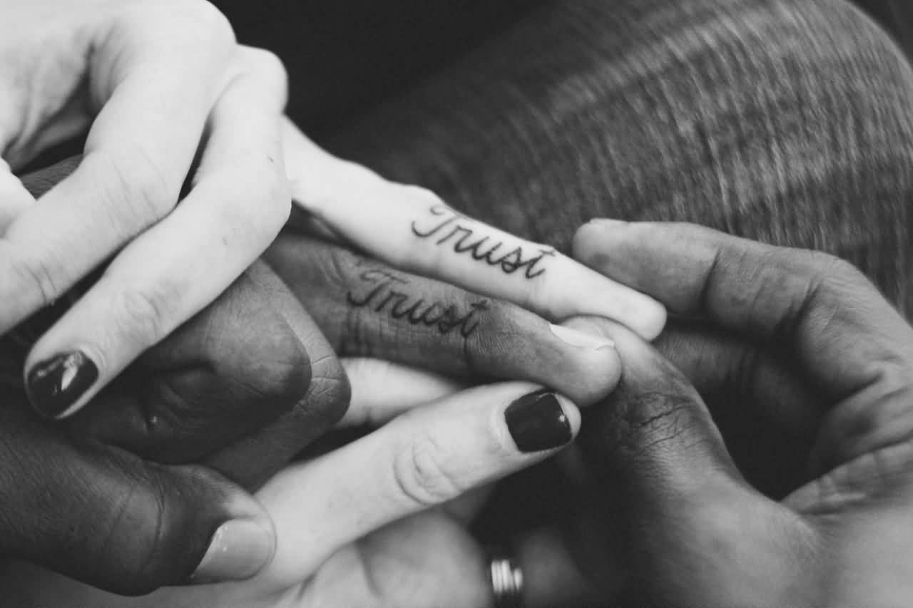 fa99c1301 Trust Word Matching Couple Tattoos On Fingers
