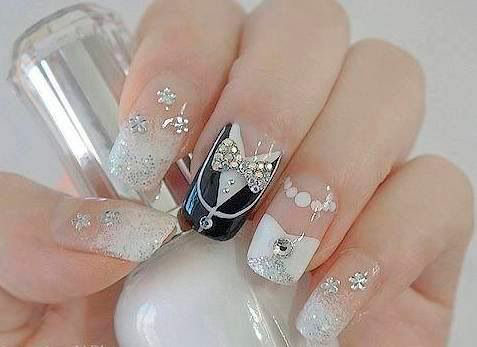 Wedding Nail Art | Tuxedo And 3d Bow Design Wedding Nail Art