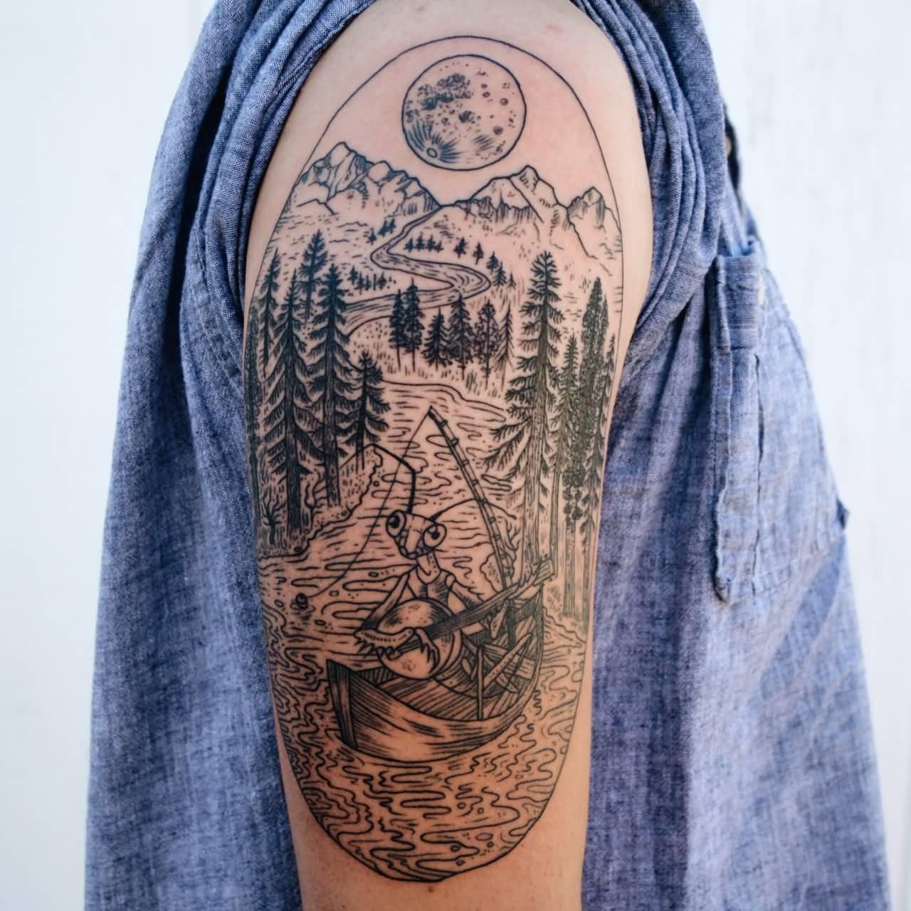f1646276b Very Nice Mountains Scene Tattoo On Right Half Sleeve