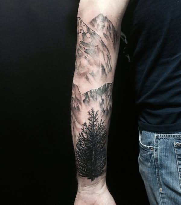 8ffdec98d Very Nice Mountains With Tree Tattoo On Arm Sleeve