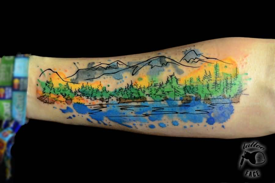 30+ Mountain With Trees Tattoos