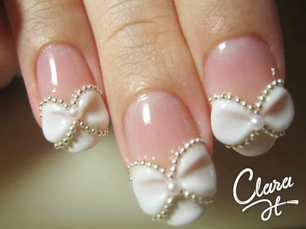 50 most beautiful wedding nail art design ideas for bridal white 3d bow wedding nail art prinsesfo Gallery