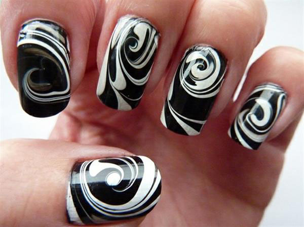 White And Black Water Marble Nail Art Design