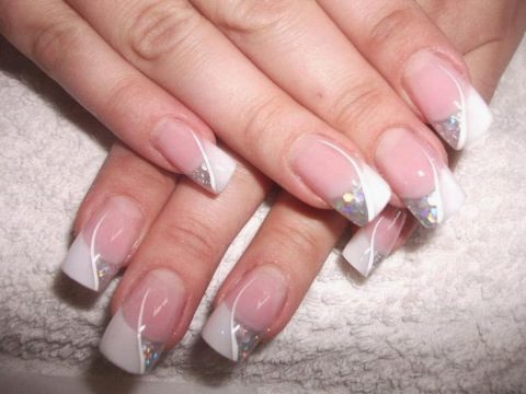 White and glitter french tip wedding nail art prinsesfo Choice Image