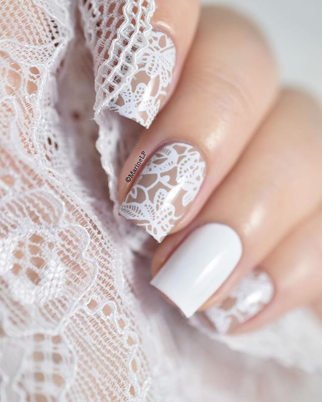 35+ Most Beautiful Wedding Lace Nail Art Designs