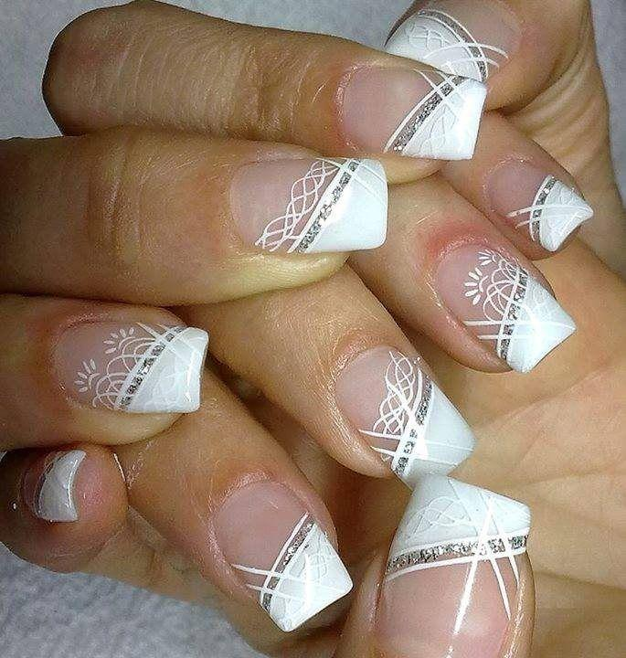 White Diagonal French Tip Wedding Nail Art