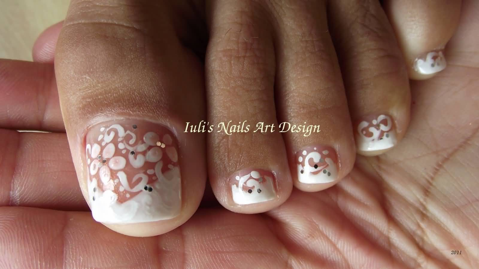 White Flowers Wedding Toe Nail Art