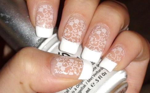 35 most beautiful wedding lace nail art designs white french tip lace wedding nail art design prinsesfo Gallery
