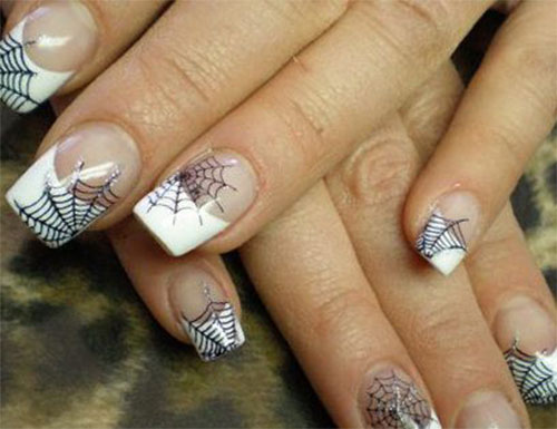 White French Tip Nails With Spider Web Halloween Nail Art - 50 Most Beautiful Spider Web Halloween Nail Art Designs
