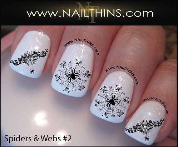 White Glossy Nails With Unique Spider Web Halloween Nail Art - 50 Most Beautiful Spider Web Halloween Nail Art Designs
