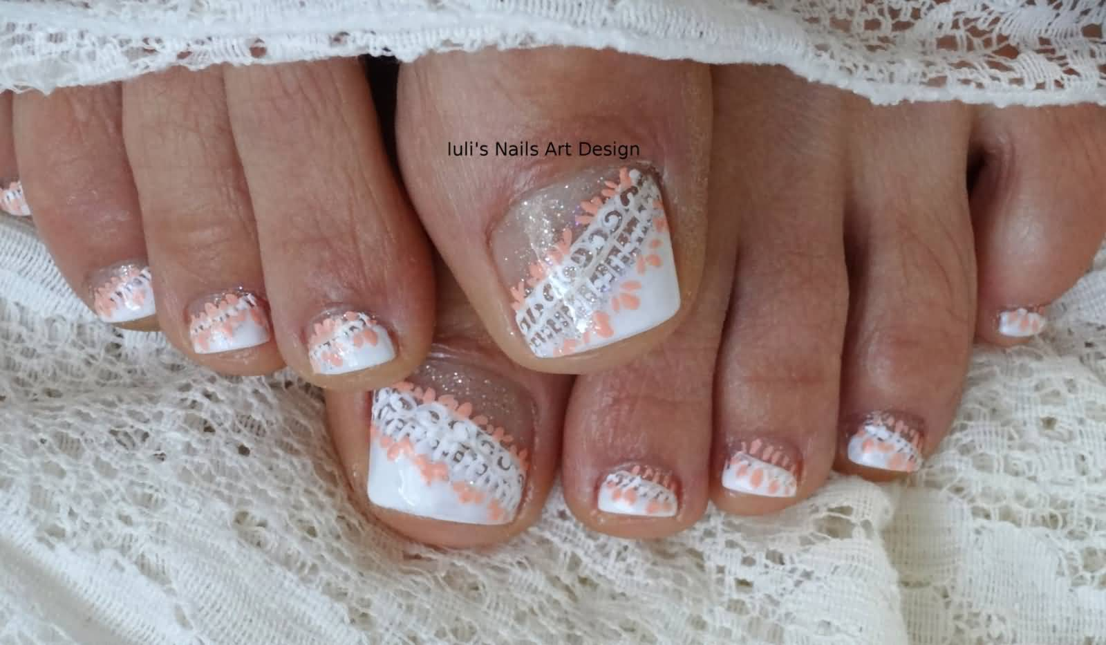 White Lace Wedding Toe Nail Art