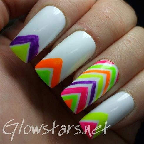 White Nails With Neon Chevron Design Nail Art