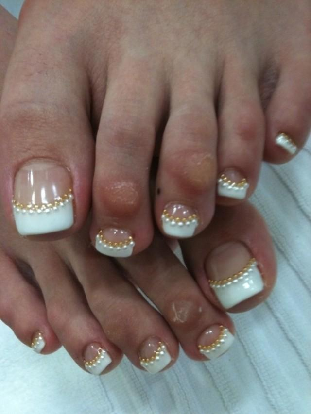 White Tip With Caviar Beads Wedding Toe Nail Art