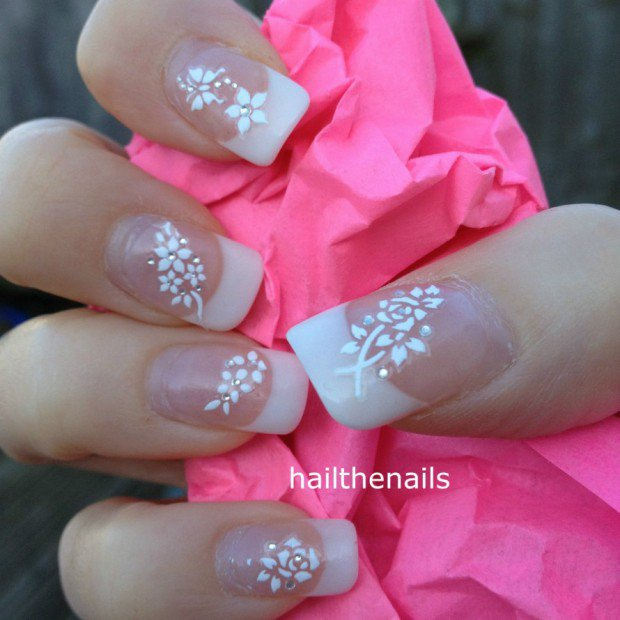 Wedding nail art bridal image collections nail art and nail 50 most beautiful wedding nail art design ideas for bridal white tip with rose flowers wedding prinsesfo Gallery